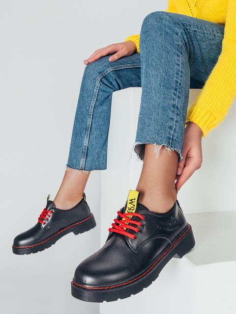 Туфли из искусственного материала на толстой подошве 50457, фото 1