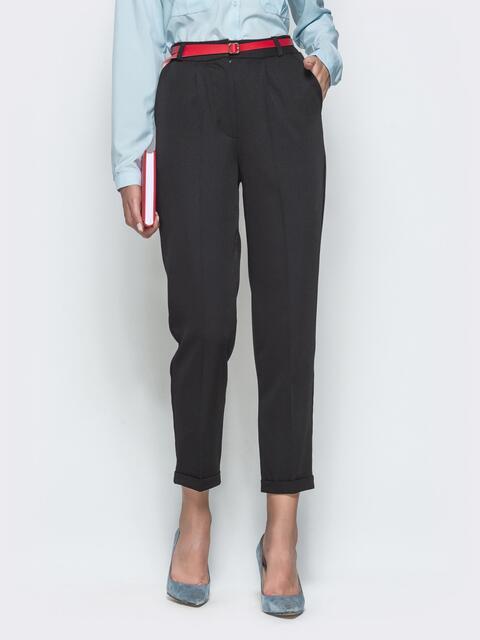 Укороченные брюки с высокой посадкой чёрные 39783, фото 1
