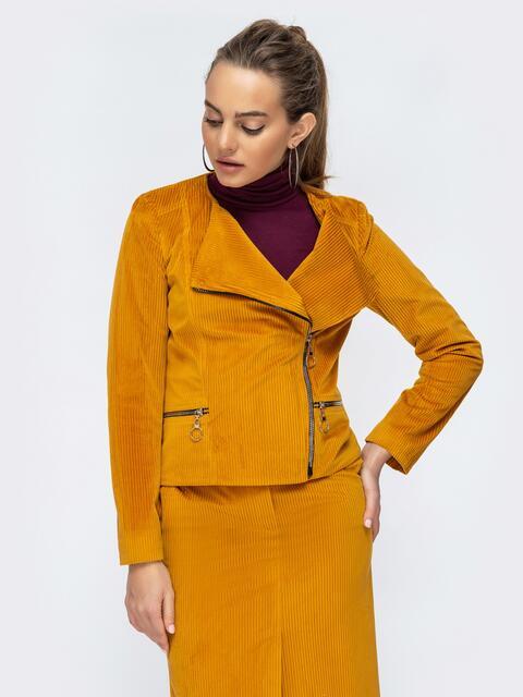 Вельветовая косуха с карманами по бокам желтая - 44908, фото 1 – интернет-магазин Dressa