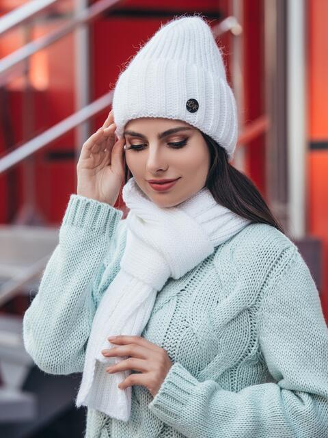 Вязаный комплект из шапки с шарфом белый 40439, фото 1