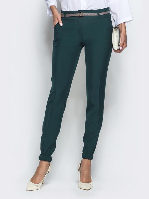 Зеленые брюки-дудочки с резинкой по низу 39778, фото 1