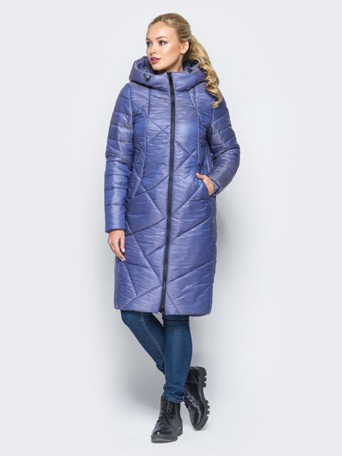 Зимняя куртка сиреневого цвета с кулиской на капюшоне - 16990, фото 1 – интернет-магазин Dressa
