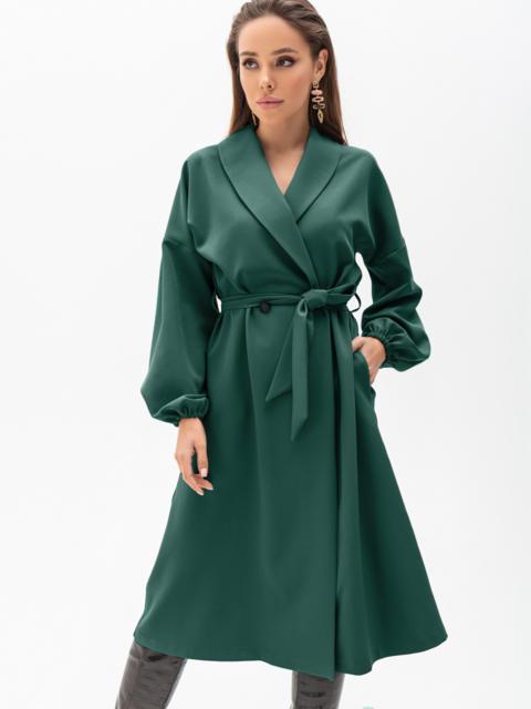 Свободное платье-пиджак с шалевым воротником зеленое 55194, фото 1
