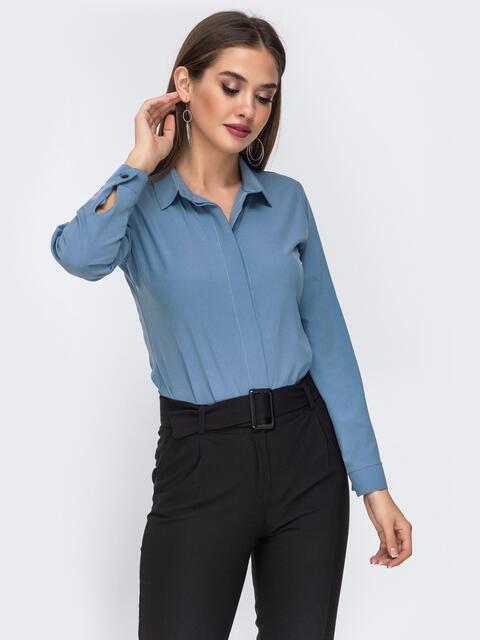 Блузка голубого цвета со шлевками на рукавах 42480, фото 1