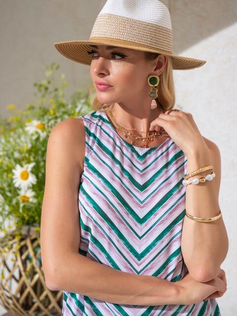 Блузка в полоску с разрезами по бокам зеленая - 49205, фото 1 – интернет-магазин Dressa
