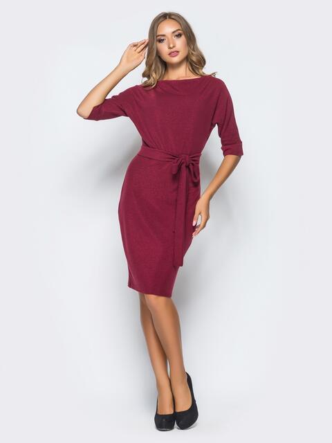 Бордовое трикотажное платье с поясом в комплекте - 15683, фото 1 – интернет-магазин Dressa