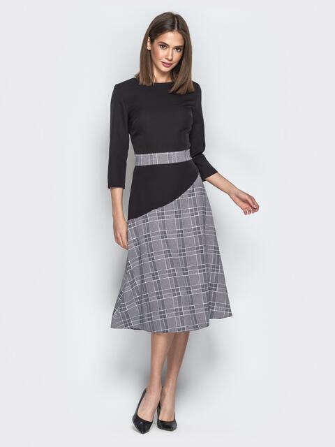 Чёрное платье приталенного кроя с контрастными вставками - 21332, фото 1 – интернет-магазин Dressa