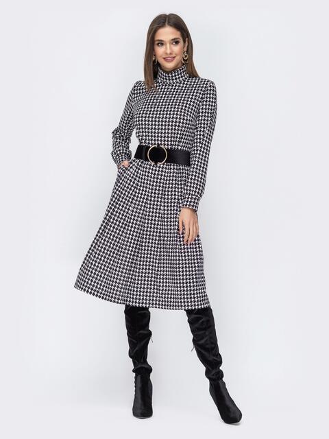"""Чёрное платье с принтом """"гусиная лапка"""" - 44190, фото 1 – интернет-магазин Dressa"""