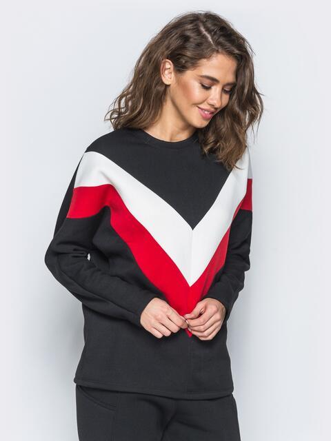 Черный свитшот с бело-красными вставками - 17380, фото 1 – интернет-магазин Dressa