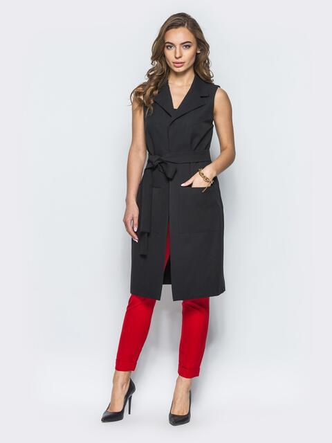 Длинный жакет с накладными карманами черный - 12834, фото 1 – интернет-магазин Dressa