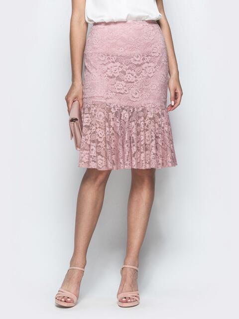 Гипюровая юбка-годе пудрового цвета 39509, фото 1