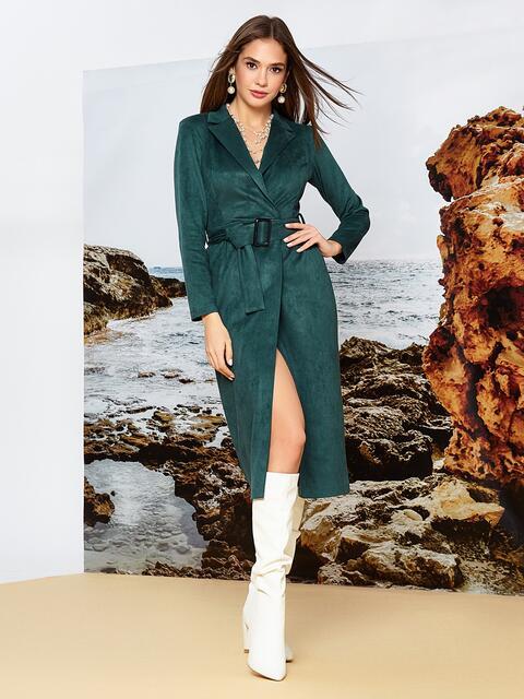 Зелёное платье на запах из замши с широкими лацканами - 42197, фото 1 – интернет-магазин Dressa