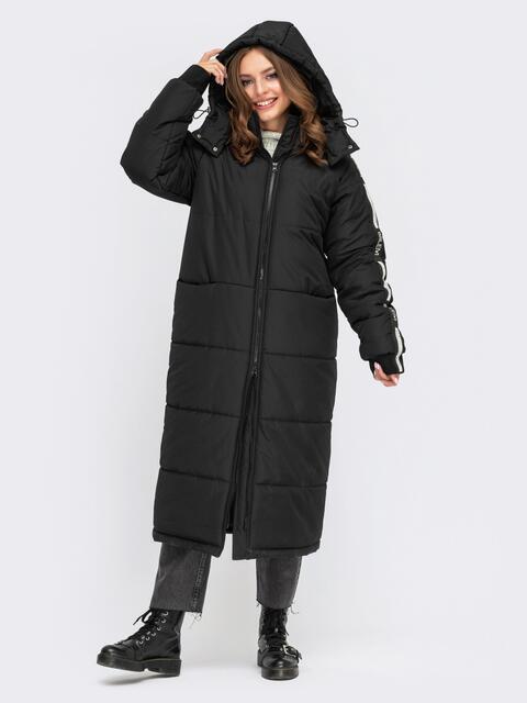 Зимняя куртка длины миди с репсовой лентой 55579, фото 1