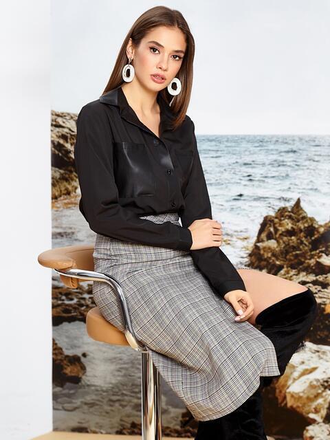 Чёрная блузка прямого кроя с накладными карманами - 42061, фото 1 – интернет-магазин Dressa