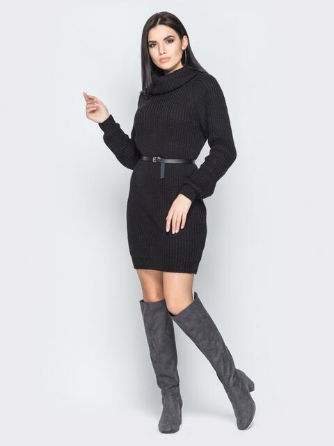 Чёрное платье с рукавом-реглан и поясом - 19470, фото 1 – интернет-магазин Dressa
