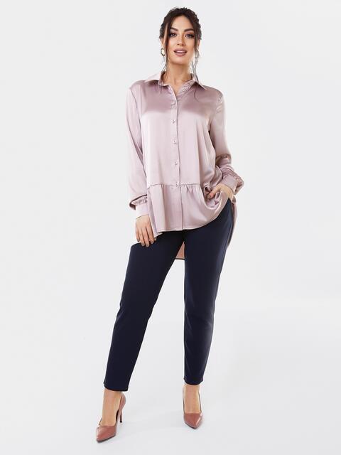 Костюм батал из шелковой блузки пудрового цвета и брюк 53611, фото 1