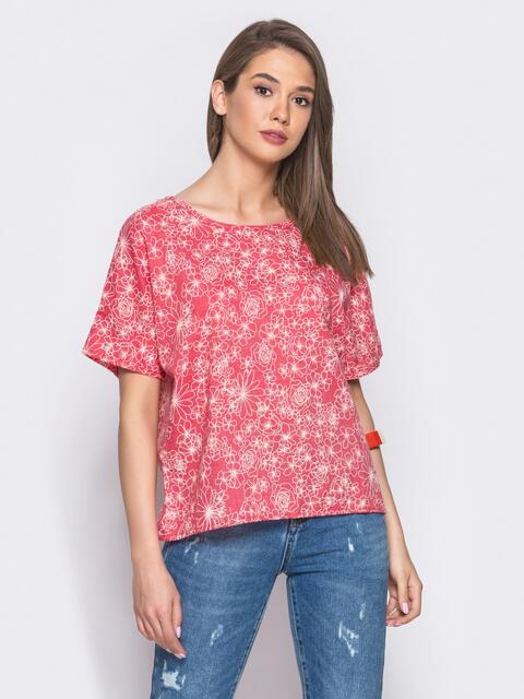 Красная блузка с цветочным принтом - 12037, фото 1 – интернет-магазин Dressa