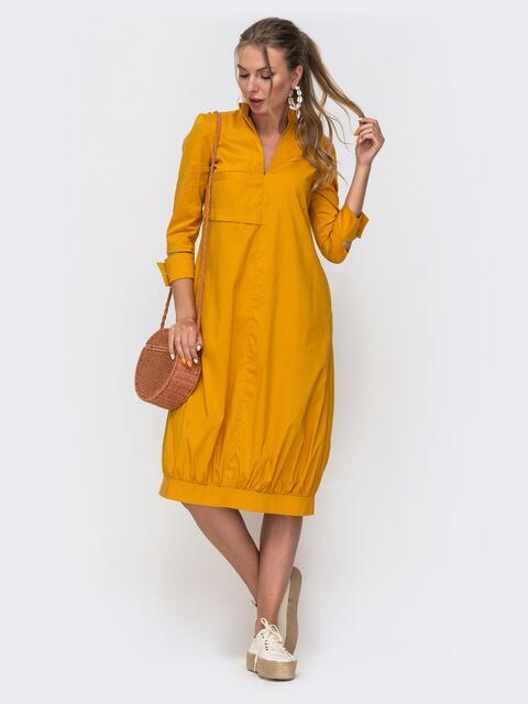 Платье-баллон желтого цвета с разрезами на рукавах  - 49616, фото 1 – интернет-магазин Dressa