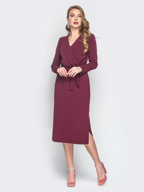 Платье из креп-дайвинга с фиксированным запахом бордовое - 18779, фото 1 – интернет-магазин Dressa
