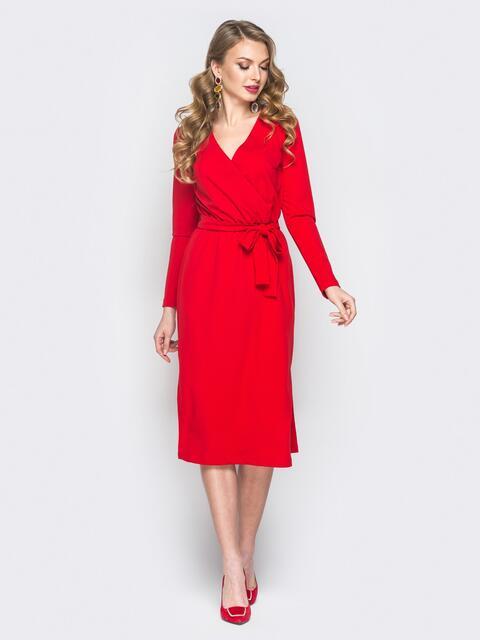 Платье из креп-дайвинга с фиксированным запахом красное - 18780, фото 1 – интернет-магазин Dressa