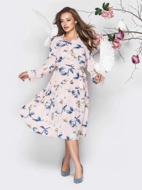 Пудровое принтованное платье-рубашка с юбкой-полусолнце - 20996, фото 1 – интернет-магазин Dressa