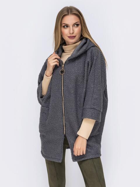 Серое пальто с капюшоном и цельнокроеными рукавами - 42065, фото 1 – интернет-магазин Dressa
