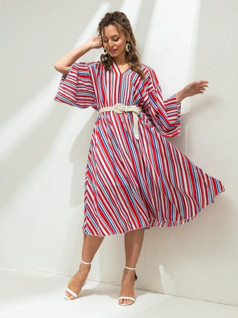 Шифоновое платье в полоску с треугольным вырезом красное 46811, фото 1