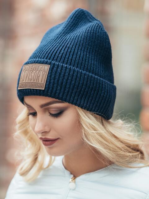 """Темно-синяя шапка с нашивкой """"advisory"""" - 15379, фото 2 – интернет-магазин Dressa"""