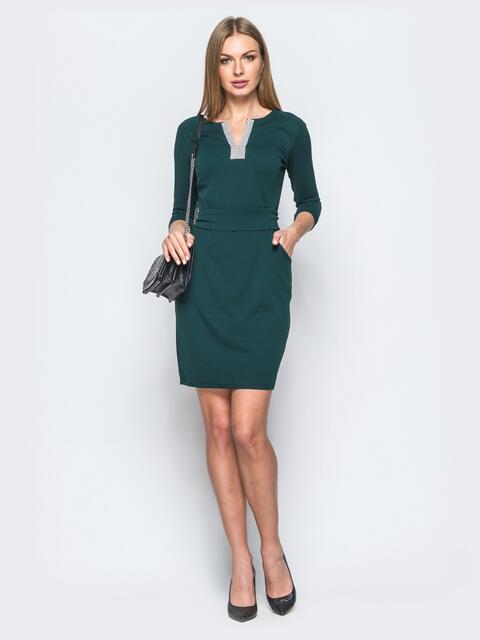 Зелёное платье из креп-дайвинга со стразами на полочке - 17616, фото 1 – интернет-магазин Dressa