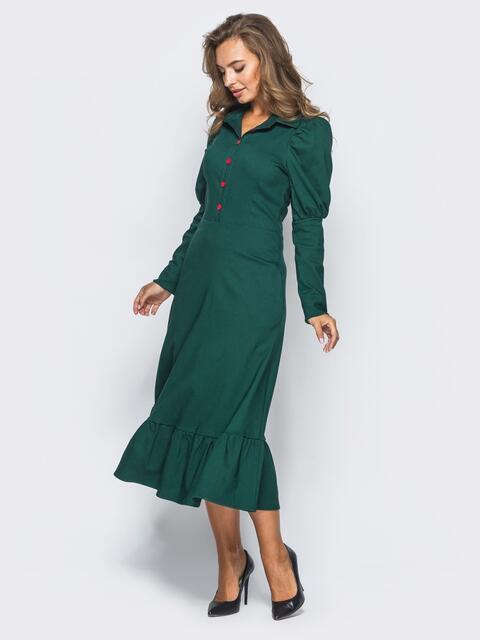 Зелёное платье с оборкой по низу и рукавом-фонариком - 15689, фото 1 – интернет-магазин Dressa