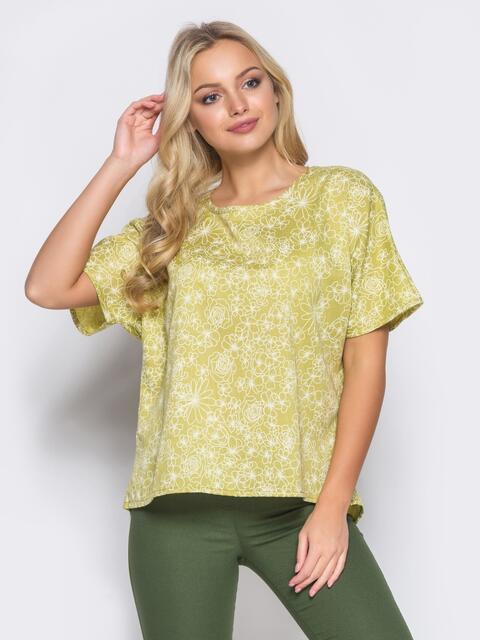 Желтая блузка с цветочным принтом - 12038, фото 1 – интернет-магазин Dressa