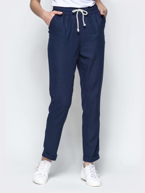 Спортивные штаны с завышеной талией на резинке синие 21854, фото 1