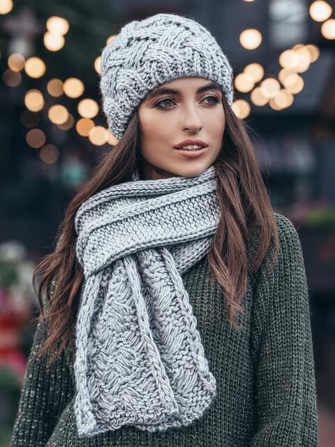 Комплект из шапки и шарфа светло-серый 15569, фото 1