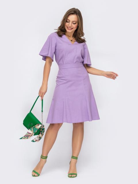 Льняной костюм из блузки и юбки-трапеции фиолетовый 53767, фото 1