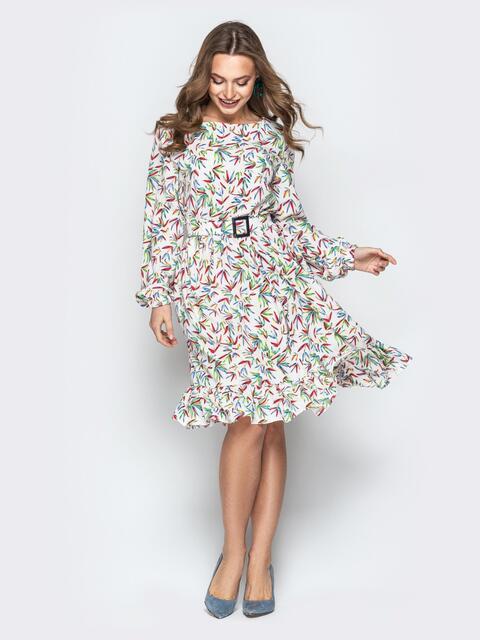 Принтованное платье с юбкой-клёш и поясом белое - 20328, фото 1 – интернет-магазин Dressa
