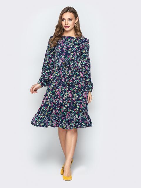 Принтованное платье с юбкой-клёш и поясом тёмно-синее - 20329, фото 1 – интернет-магазин Dressa