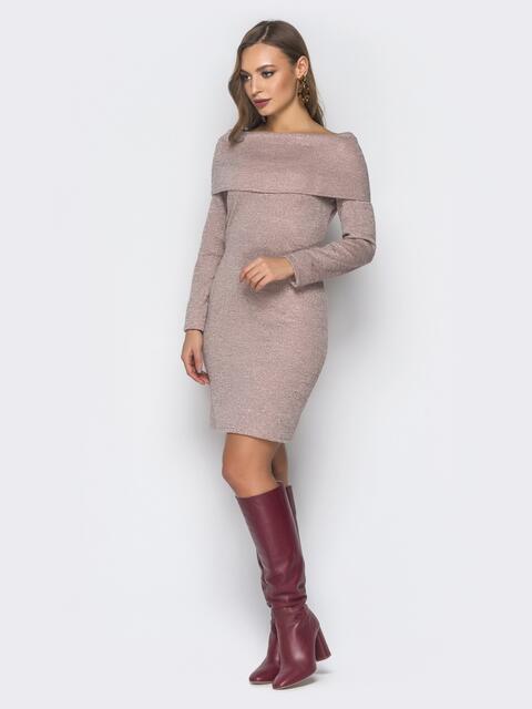 """Розовое платье с воротником """"берта"""" - 18719, фото 1 – интернет-магазин Dressa"""