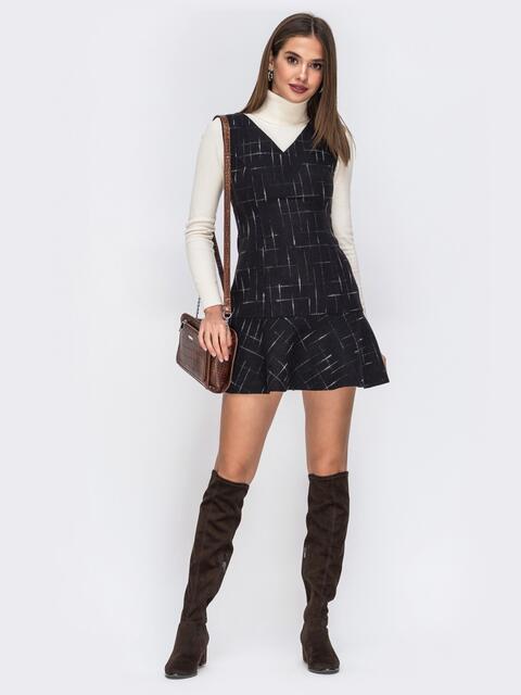 Сарафан чёрного цвета с оборкой по низу - 42444, фото 1 – интернет-магазин Dressa