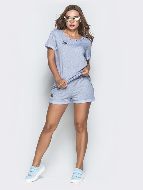 Спортивный комплект из футболки и шорт серый - 39348, фото 1 – интернет-магазин Dressa