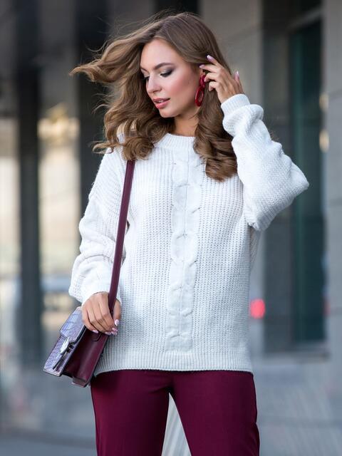 Свитер белого цвета с удлиненной спинкой - 41809, фото 1 – интернет-магазин Dressa