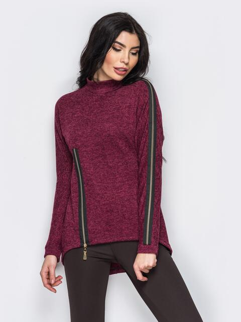 Свитшот с молнией на полочке и на рукаве бордовый - 13990, фото 1 – интернет-магазин Dressa