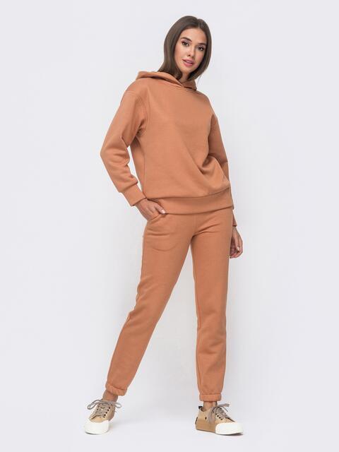 Тёплый комплект бежевого цвета из худи и брюк 51155, фото 1