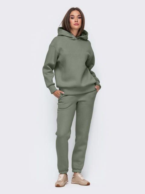 Тёплый комплект цвета хаки из худи и брюк 51157, фото 1