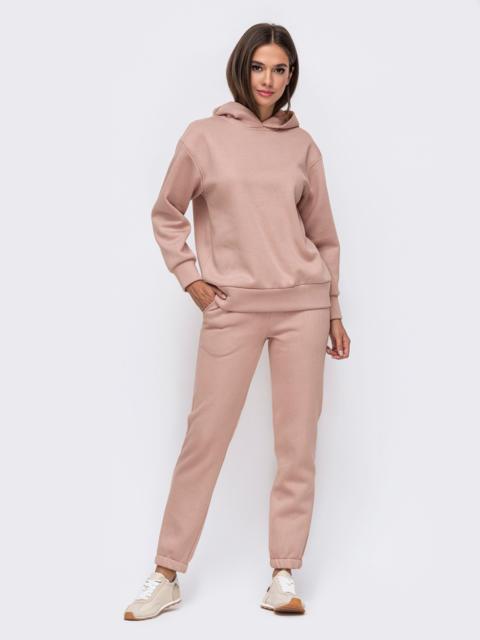 Тёплый комплект пудрового цвета из худи и брюк 51156, фото 1