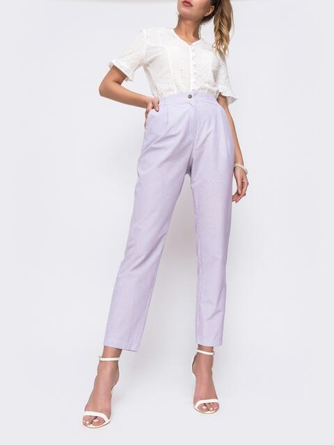 Зауженные брюки с высокой посадкой сиреневого цвета 48029, фото 1