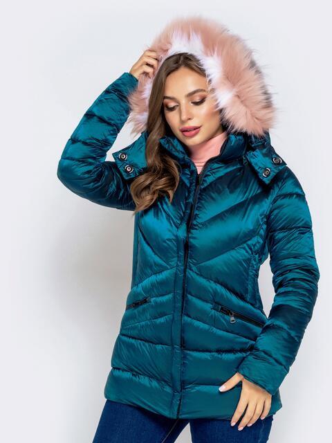 Зимняя куртка со съёмным капюшоном зеленая 40171, фото 1