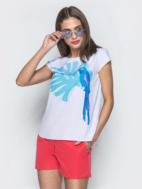 Белая блузка с авторским принтом без рукавов - 39522, фото 1 – интернет-магазин Dressa