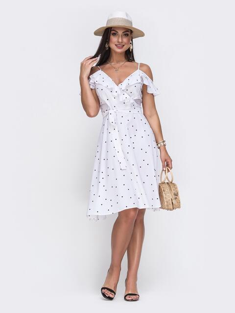 Белый сарафан батал с расклешенной юбкой и оборкой - 49744, фото 1 – интернет-магазин Dressa