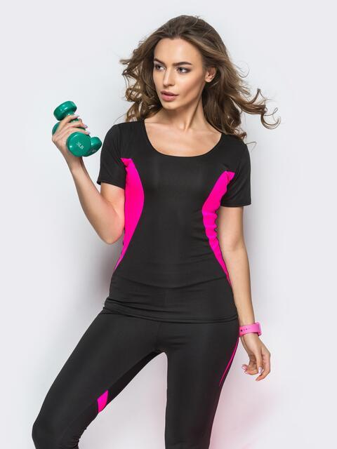 Черная футболка с малиновыми вставками по бокам - 22383, фото 1 – интернет-магазин Dressa