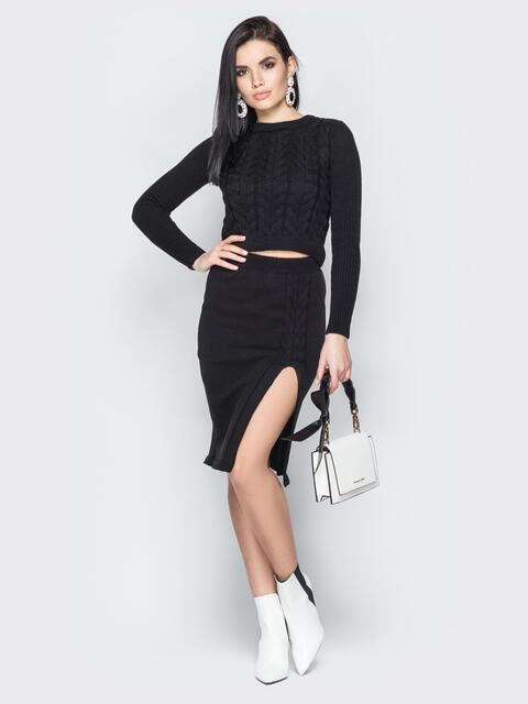Чёрный комплект из топа с косами и юбки - 19450, фото 1 – интернет-магазин Dressa